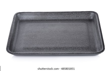 black foam food container isolated on white.