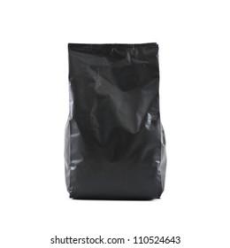 black foil bag pack isolated on white background