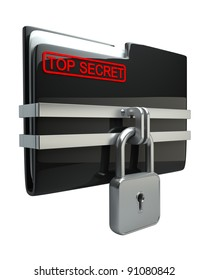 BLACK Folder with closed lock (Top secret) isolated on white background High resolution. 3D image