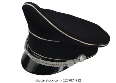black forage cap with silver cord isolated on white