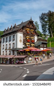 Black Forest in Bavaria, Germany - 25/08/2018: Untouched nature with mountains, forests, lakes and enchanting countries. The village of Triberg famous for its cuckoo clocks.