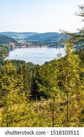Black Forest in Bavaria, Germany. Lake Titisee, surrounded by unspoilt nature among mountains, forests and enchanting countries.