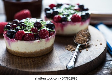 Black forest berry fruit cheesecake with pistachio nuts