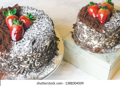 Black Forest Cake Gateux. With Chocolate and Strawberry. Whole and mini Schwarzwald torte