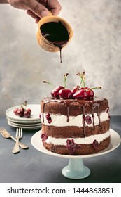 Black Forest Cake in modern way with fresh cherries. Copy space. Schwarzwald Torte.