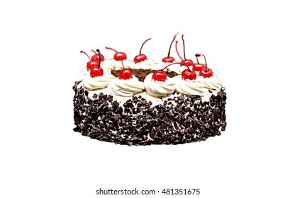 Black Forest cake on a white background.