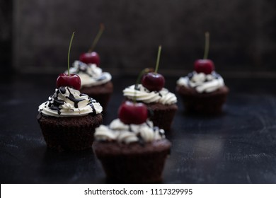 black forest cakes, moody background