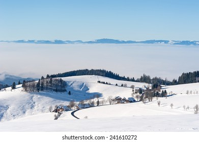 Black Forest in the winter with Vosges in the background