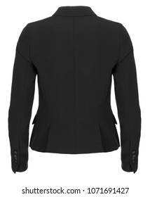 Black formal women's blazer, back view, photographed on ghost mannequin on white background.