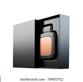 Black fragrance perfume bottle mockup with copper label in open box. Isolated on white. 3d render