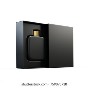 Black fragrance perfume bottle mockup in open box. Isolated on white. 3d render.