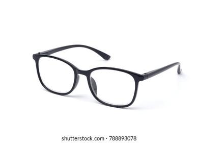 Black frame eyeglasses isolated on white background, Myopia (nearsightedness), Short sighted or presbyopia (Farsightedness) eyeglasses