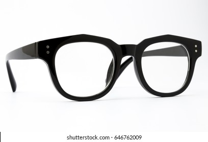 black frame glasses isolated on white background.