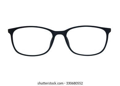 Black Frame Glasses on white Isolated background