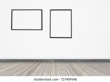 Black frame with a white screen on the wall for text or ideas