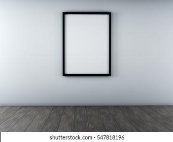 black frames on white wall. 3d rendering