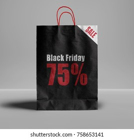Black Friday and 75% sale text on paper bag. Creative concept  idea for this day.