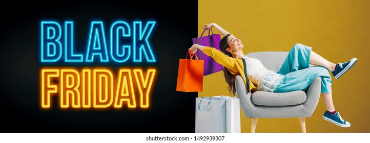 Black friday advertisement banner with cheerful shopping girl sitting on an armchair and holding bags