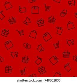 Black friday icons set on red background