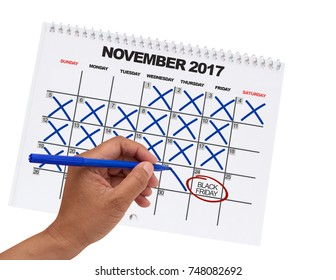 Black Friday (one day away) countdown November 2017 Calendar hand crossing out days