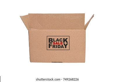 Black Friday Open Cardboard Box white background