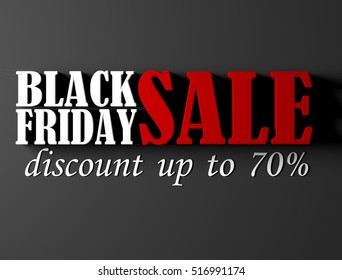 Black Friday sale banner with 70% discount. 3D render illustration.