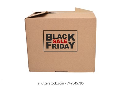 Black Friday Sale closed box cardboard box held by wood mannequin white background