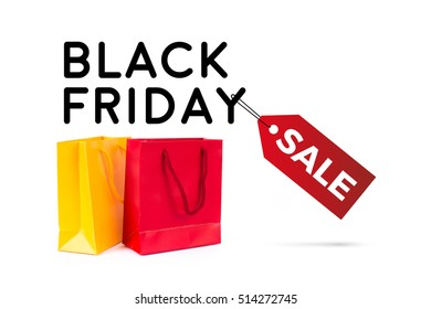 black friday sale with colored bags on white background with copy space