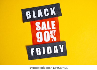 Black Friday sale concept. Discount ninety percent. Sale sticker on yellow background.