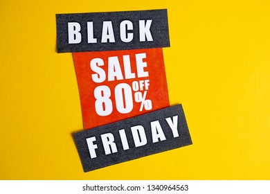 Black Friday sale concept. Eighty percent discount. Sale sticker on yellow background.