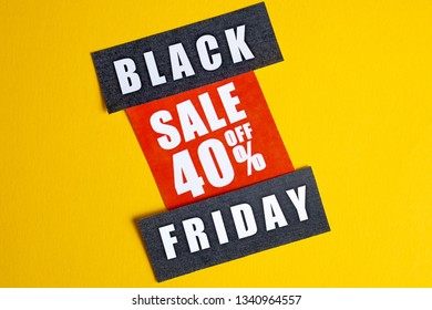 Black Friday sale concept. Forty percent discount. Sale sticker on yellow background.