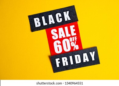Black Friday sale concept. Sixty percent discount. Sale sticker on yellow background.