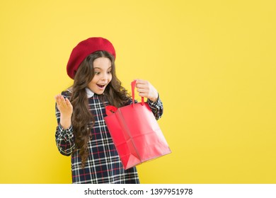 Black friday. Sale discount. Shopping day. Little french lady adore shopping. Birthday girl. Favorite brands hottest trends. Girl with shopping bag. Explore fashion industry. Shopping and purchase.