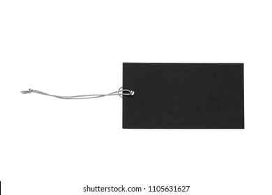 Black Friday sale. Black isolated blank tag with a silver elastic band on a white background
