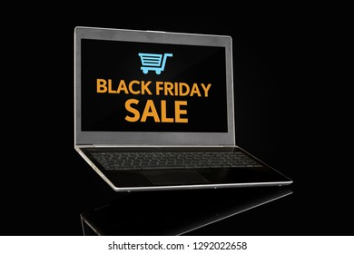 Black Friday Sale on a Laptop with E-Commerce Bucket