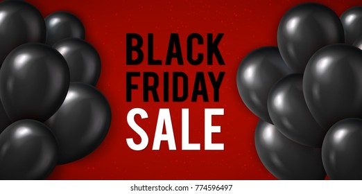 Black Friday sale poster with realistic black balloons. illustration.