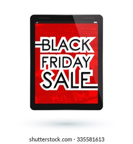 Black Friday Sale. Black Tablet PC Pad. illustration.