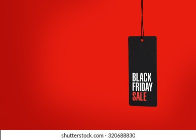 Black friday. Sale tag on the red background