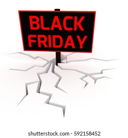 Black friday sale. Unusual 3D rendering on white background.