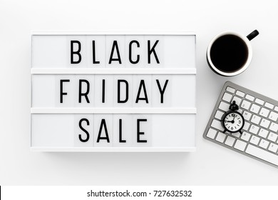 Black friday sale word on lightbox with computer keyboard
