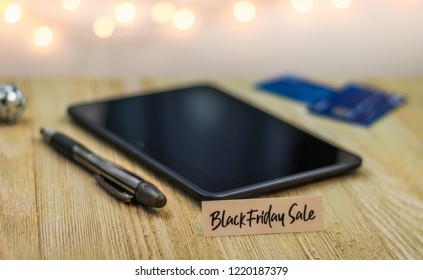 Black Friday shopping concept with tablet and credit cards