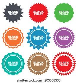 Black friday sign icon. Sale symbol. Special offer label. Stars stickers. Certificate emblem labels.