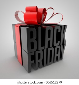Black Friday sign Wrapped with red ribbon