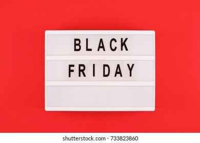 Black friday text in black and white on light box message sign board