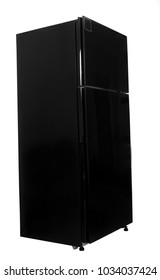 Black fridge isolated on white