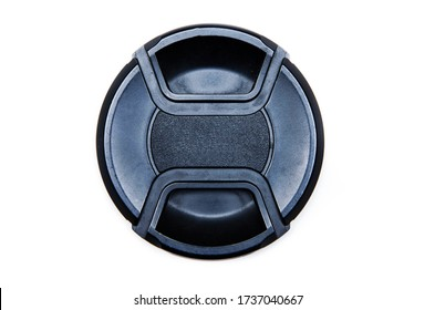 Black front lens cap on a white background with no logo
