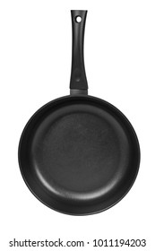 black fry pan isolated on white background
