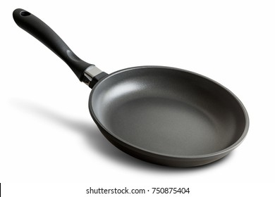 black fry pan over white background
