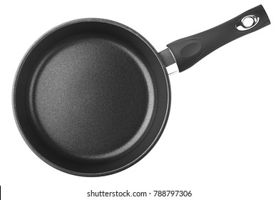black fry pan, skillet, clipping path, isolated on white background