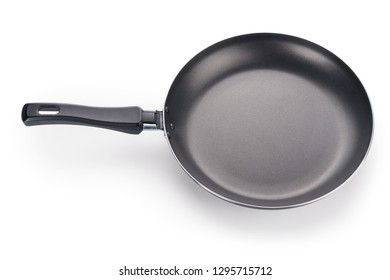 Black frying pan angle view. Isolated on white, clipping path included